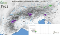 The development of the alpine protected areas since the 20th century – a graphical animation